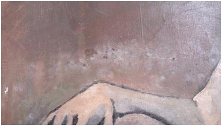 oeuvre d'art ancienne abîmée par l'eau